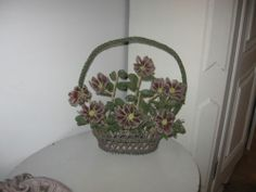 Antique French Beaded Flowers Basket Very Large and RARE | eBay