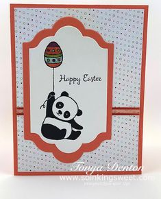 It's a Panda Easter, Party Pandas, hand stamped card, Happy Easter Easter Party, Stampin Up Cards, Happy Easter, Hand Stamped, 3 D, Challenges, Paper Crafts, Kids Rugs, Invitations