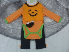 Halloween Baby Girl 4 Pice Set Pants Bib One Piece Socks Pumpkin Orange 3-6 M  #Babygear #HalloweenHoliday