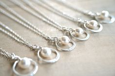 Bridesmaid Gift  6 Infinity Necklaces in Sterling by Beazuness, $135.00