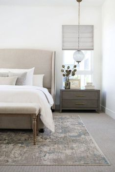 modern farmhouse bedroom design, neutral bedroom decor with upholstered headboard and white bedding with modern pillows, nightstand decor, nightstand styling with artwork over bed, neutral rug in master bedroom decor with bench at end of bed Neutral Bedroom Decor, Home Decor Bedroom, Bedroom Ideas, Bedroom Furniture, Dark Furniture, Furniture Ideas, Modern Furniture, Neutral Bedrooms, Furniture Market