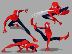 Spiderman Poses, Spiderman Drawing, Spiderman Art, Amazing Spiderman, Character Poses, Character Art, Character Design, Chibi Marvel, Marvel Art