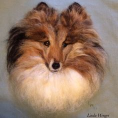 Pet portrait of Nick. A needle felted wool painting by Linda Wenger