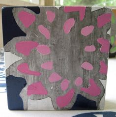 5 x 5 Original Acrylic Painting on Wood - White, Pink, and Dark Blue Violet Flower
