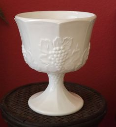 Indiana Glass Company  Milk Glass Compote/Bowl in Harvest Grapes Pattern