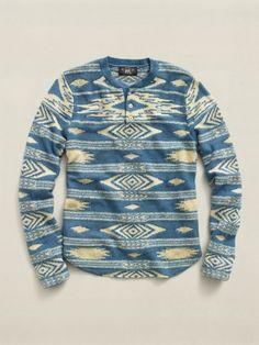 RRL - Summer '12 Indigo Printed Henley Sweater.