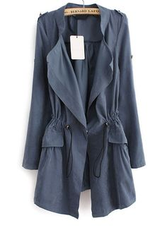 Blue Long Sleeve Epaulet Drawstring Trench Coat  by SheInside