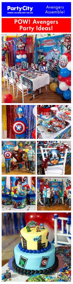 Assemble an action-packed party for your birthday hero and allies! Captain America, Iron Man and the rest of the team join the party with our out-of-this-world party ideas! - Visit to grab an amazing super hero shirt now on sale! Avengers Birthday, Superhero Birthday Party, 6th Birthday Parties, Birthday Fun, Birthday Ideas, Captain America Party, Captain America Birthday, Festa Party, Partys