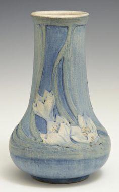 Newcomb College Matte Glaze Art Pottery Baluster Vase, 1916, by Anna Frances Simpson