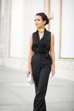 Maurie & Eve black check bodysuit, ASOS wide leg pants, Natasha Couture bag, Paula Mendoza choker