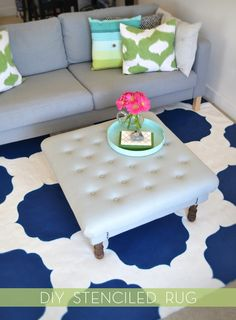 DIY Stenciled Rug credit: Sarah Dorsey [http://sarahmdorseydesigns.blogspot.com/2012/05/diy-painted-morrocan-rug-finished.html]