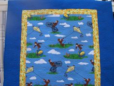 Curious George Baby Toddler Play Quilt by EggMoneyQuilts on Etsy