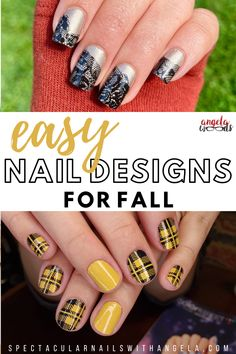 Check out Breaking Plaid, a mustard and black plaid pattern. There's no excuse for your at home manicure to be slacking. Create an easy DIY mixed manicure at home in under 10 minutes with Color Street. These salon quality nail strips add instant glamour to your outfit. Shop now and get a perfect for fall nail design with SPECtacular Nails by Angela. #septembernails #fallnails #fallnails2021 Fall Nail Designs, Simple Nail Designs, Winter Nail Art, Winter Nails, Beauty Tips Blog, Wood Nails, Outfit Shop, Nail Length, Manicure At Home