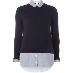 Dorothy Perkins blue pinstripe 2-in-1 top (795 MXN) ❤ liked on Polyvore featuring tops, sweaters, shirts, blue, dorothy perkins and blue top
