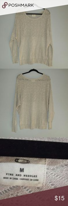 Urban Outfitters sweater Oatmeal/cream colored sweater with knitted detail around the chest area; long sleeves and in  fab   condition Pins & Needles Sweaters Crew & Scoop Necks