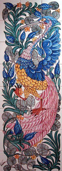Pelicano Framed Print by Paula Teresa Tile Wallpaper, Pattern Wallpaper, Art Nouveau Tiles, Unique Tile, Turkish Art, Art Deco Design, Art Deco Jewelry, Tile Art, Hand Painted