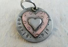 Layered heart pet id tag  Personalized pet by puppypawsandkisses
