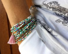 Turquoise and Cream Extra Long Seed Bead Wrap Bracelet   Wear