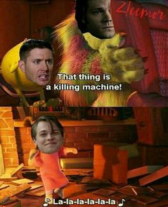 XD omg so true. He's an innocent ball of fuzz. Sam and Dean with Jack. Aaw