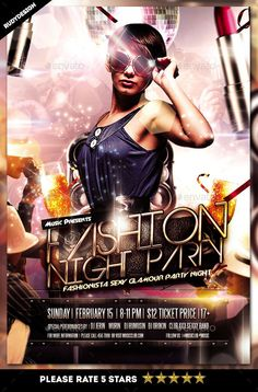 Fashion Night Party Flyer — Photoshop PSD #design #bachelor • Available here → https://graphicriver.net/item/fashion-night-party-flyer/11160887?ref=pxcr