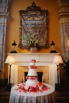 Pink and White Tiered Wedding Cake