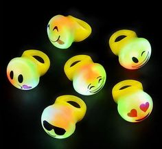 12 Led Flashing Emoji Rings Emoticon Jelly Ring Party Favors Carnival Light Up in Home & Garden, Greeting Cards & Party Supply, Party Supplies 9th Birthday Parties, 12th Birthday, Slumber Parties, Birthday Emoji, Birthday Ideas, Party Emoji, Emoji Party Supplies, Carnival Lights, Party Rings