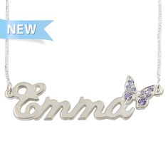 Sterling Silver Name Necklace with Butterfly Swarovski ? Professional Setting! Is the best #Gift idea you can give to your love!