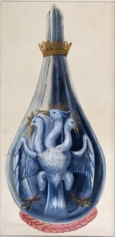 """A three-headed eagle in a crowned alchemical flask, representing Mercury sublimated three times.""  Watercolor painting from Salomon Trismosin's 'Splendor solis'."