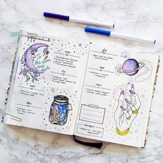 Look at this amazing galaxy themed spread by @mathusbujo  #notebooktherapy