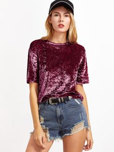 Shop Burgundy Short Sleeve Crushed Velvet T-shirt online. SheIn offers Burgundy Short Sleeve Crushed Velvet T-shirt & more to fit your fashionable needs.