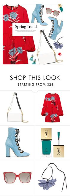 """""""Spring Dress"""" by magdafunk ❤ liked on Polyvore featuring Diane Von Furstenberg, Valentino, Yves Saint Laurent, Gucci, Marni, Shashi, Spring, florals, floraldress and printdress"""