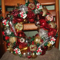 "Vintage Handmade Christmas Ornament Wreath Red Green 17"" Shatterproof Tradition 