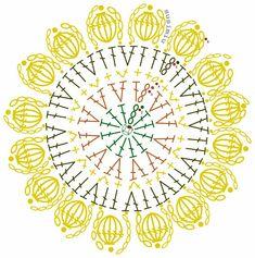 Girasole sottopiatto Crochet Mandala Pattern, Crochet Circles, Crochet Doily Patterns, Crochet Diagram, Crochet Chart, Crochet Squares, Crochet Doilies, Crochet Flowers, Crochet Stitches