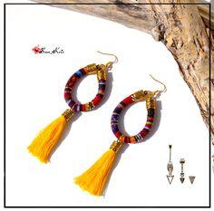 Boucles d'oreilles pompons et cordon ethnique multicolore, bijoux bohèmes jaune, tissu ethnique, bijoux ethniques, bijoux femmes : Boucles d'oreille par sunkris