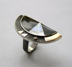 Vladimir Shestakov - Flash. Ring - 925 silver, 585 gold, onyx, pearl, diamond.