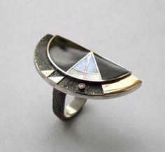 Vladimir Shestakov - Flash. Ring - 925 silver, 585 gold, onyx, pearl, diamond.