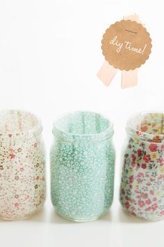 These pretty jars are made from decoupage and pretty fabrics. Check out the tutorial and full post for more pictures at fellowfellow –- Sweet DIY Votives.