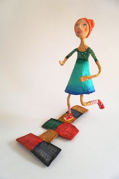 Hopscotch. Cartapesta and air dry clay sculpture.