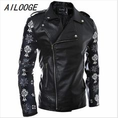 AILOOGE 2017 Autumn Winter New Men Leather Jacket Skulls Printing Zipper Design Fashion Slim Fit PU Motorcycle Jacket Coat #Affiliate