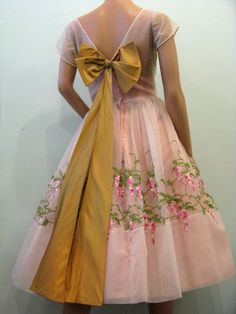 Pink Floral Embroidered Gown With Sash (Back of dress)