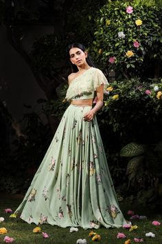 By Designer Mahima Mahajan, This Set Features A Ivory One Off- Shoulder Silver Embellished Blouse With Georgette Printed Skirt. Indian Blouse, Dress Indian Style, Indian Dresses, Indian Wear, Lehenga Skirt, Lehenga Blouse, Anarkali, Off Shoulder Lehenga, Off Shoulder Blouse