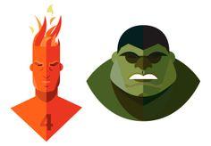 Los superhéroes ilustrados con diseño plano de Jeffrey Rau | TodoGraphicDesign