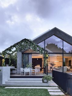 Designed by architect Pete Kennon of Melbourne-based studio Kennon+ for a young family of five, this four bedroom home seamlessly combines a quaint Victorian cottage with a modern, concrete extension of minimalist grace and formalist rigour. Architecture Design, Contemporary Architecture, Australian Architecture, India Architecture, Contemporary Apartment, Architecture Office, Modern Contemporary, Café Design, Modern Cottage