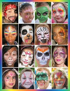 """That's the best face painting I have ever seen"". This is what we hear all the time when we entertain at events. We do cheek designs, half face designs, full face designs and body art."