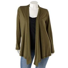 """SONOMA life + style Slubbed Open-Front Cardigan - Women's Plus:  I got this in blue and black this year.  The drape on it is lovely, and it takes jeans and a t-shirt from """"I'm a trashy mess"""" to """"Oh, I might be okay!"""""""