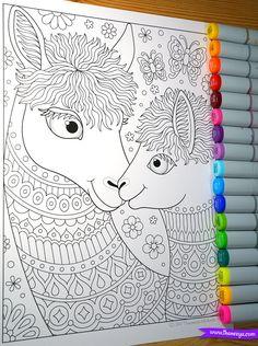 Llama Mama And Baby Coloring Page From Thaneeya McArdles Delightful Animal Families Book