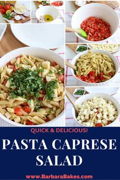 Vine-ripened tomatoes and fresh basil really make the flavors pop in this Pasta Caprese Salad! It makes a perfect last-minute meal for busy nights. You could also add in grilled chicken breast, or even grilled shrimp for more protein if preferred. Caprese Salad Recipe, Caprese Pasta Salad, Salad Sauce, Ham Salad, Potato Salad, Best Pasta Recipes, Pasta Salad Recipes, Amazing Recipes, Delicious Recipes