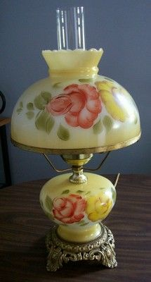 Vintage Hurricane PARLOR LAMP Hand Painted Gone WTW Electric Marked  Accurate Casting