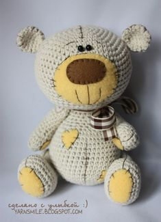 Amigurumi teddy bear with patch soft toy crochet pattern IN