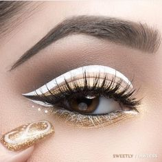 """""""WHITE & GOLD CHRISTMAS GLAM  @sweetlyflawless used our #velourliquidlipstick shade #DRUGLORD for liner and lower lashes """""""